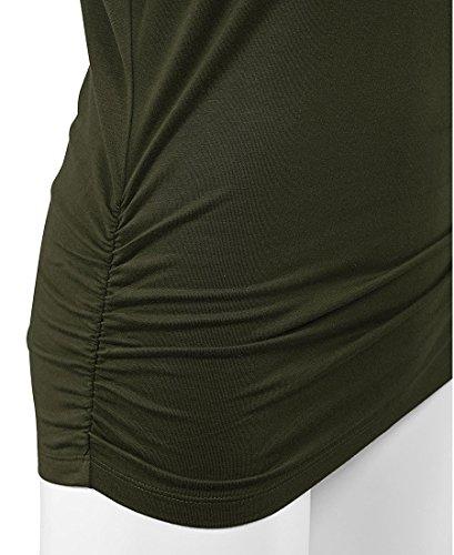 lymanchi Damen Rundhals 3/4 Ärmel Falten Shirt Crewneck Fledermaus Batwing Tunika Top Armeegrün