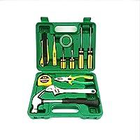 Juego de herramientas de reparación de herramientas para el hogar Caja de regalo Juego de herramientas de 12 piezas (Color : Green)