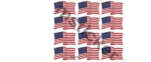 12 kleine Aufkleber waving USA Flag Fahne America US Aufkleber Sticker + Gratis Schlüsselringanhänger aus Kokosnuss-Schale + Auto Motorrad Laptop Tuning Racing Hoonigan Motorsport Ken Block Gymkhana -
