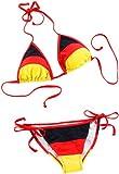 PEARL Sportfanprodukt: Bikini im schwarz-rot-goldenen Deutschland-Design, Gr. L (Fan Artikel)