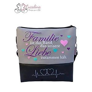 Handtasche Familie ist das Band Schultertasche/Umhängetasche *bestickt