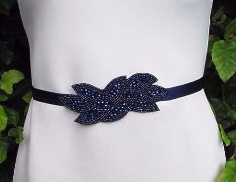 Starcrossed Boutique Bleu marine Ceinture en perles Demoiselle d'honneur Sash