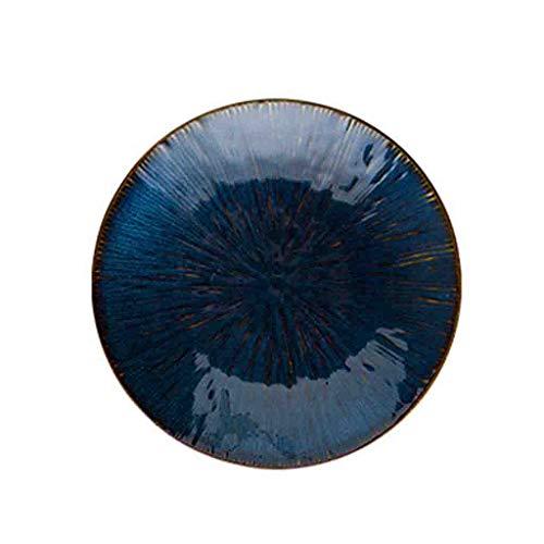Obst Platte Blaue Keramikplatte, Sushi Brotteller Pizza Salat Obstteller Familie Restaurant Küche Platte Nuss Kekse Kuchenplatte Coffee Shop Platte Salat Platte ( Farbe : Blau , größe : 21*21*2.7CM )