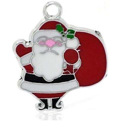 2 x Rosso Lega Dello Smalto 28mm Ciondoli Pendente (Babbo Natale Santa) - (ZX06005) - Charming Beads