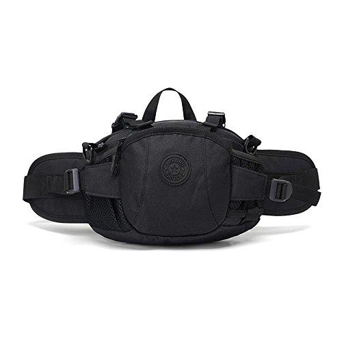 Tactical waist bag multi-funtional nylon camouflage cintura marsupio sacchetto per trekking, campeggio, picnic pesca viaggiare alpinismo trekking, Black Black