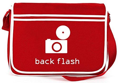 Shirtstreet24, BACK FLASH, Kamera Retro Messenger Bag Kuriertasche Umhängetasche Rot