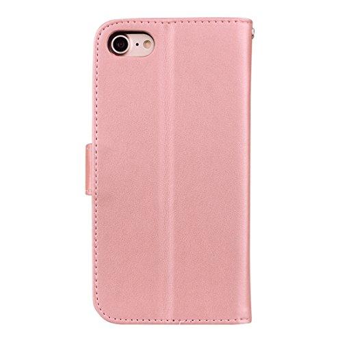 GHC Cases & Covers, Für iPhone 7, Rosen Gedrückt Blumenmuster Flip Ledertasche mit Halter & Kartensteckplätze & Brieftasche ( Color : Black ) Rose gold
