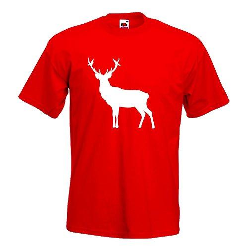 KIWISTAR - Hirsch Rentier Reh 2 T-Shirt in 15 verschiedenen Farben - Herren Funshirt bedruckt Design Sprüche Spruch Motive Oberteil Baumwolle Print Größe S M L XL XXL Rot