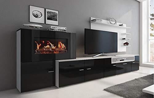 Home Innovation - Meuble de salon avec cheminée électrique à 5 niveaux de flamme, finition Blanc Mate et Noir laqué, mesures : 290 x 170 x 45 cm de profondeur.