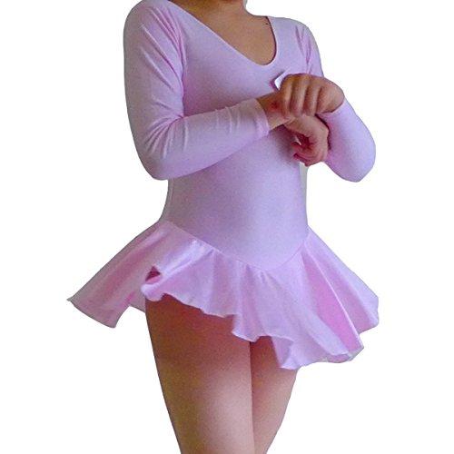 Seawhisper Mädchen Ballett Tutu Tütü Balletkleid Kindertanzkostüme Trikots Tanz Leotards Kleider(Lange ärmel rosa, Höhe 135cm)