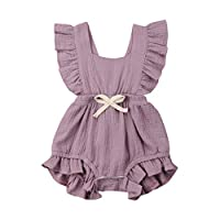 LANSKIRT-Baby Girl Romper for 3-24 Months Old, ✿Newborn Toddler Ruffles Backcross Romper Solid Color Sleeveless Summer Bodysuit Outfits Funny Comfortable Lovely One Pieces Baby Outfit Purple