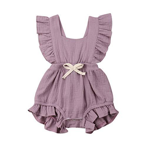 Babykleidung Mädchen Sommer 2019 Covermason Neugeborenes Säugling Baby Mädchen Strampler Einfarbig Rüschen Rückkreuzung Jumpsuit Bodysuit Outfits Overall (12-18M, Lila)