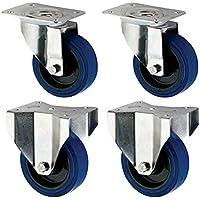 Coldene Castors Ltd – Ruedas de goma elástica azul de 125 mm – 2 x giratorias 2 x fijas