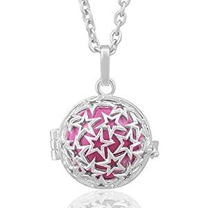 Eudora Halskette mit Klangkugel (Harmony Ball) für Frauen, Mutterschaft, lange Kette, 88,9cm, Sterlingsilber, Medaillon-Anhänger