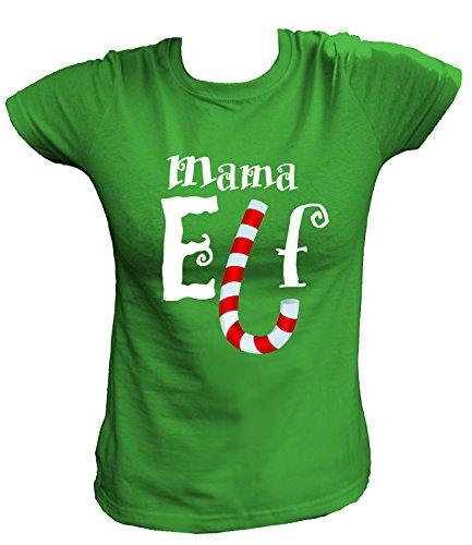 Artdiktat Damen T-Shirt - Mama Elf , Größe L, grün (Grinch Kostüme Für Kinder)