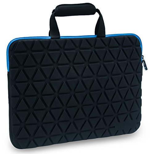 GoFree Guardian Series Ultra Compact Laptop Sleeve Bag [Shock Proof Foam Protection] for 14/15/15.6 inch laptops (Black w/ Azure Blue Accents)
