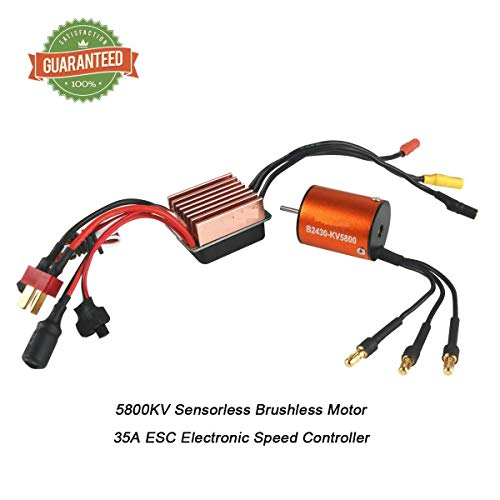 Crazepony-UK B2430 5800KV Sensorless Brushless Motor with 35A ESC Electronic Speed Controller for 1/16 1/18 RC Car Off-Road Truck