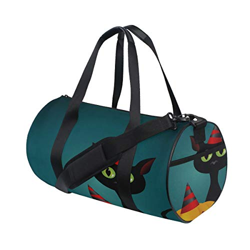 Schwarze Katze Hexen für Halloween Multi leichte große Yoga Gym Totes Handtasche Reise Canvas Duffel Taschen mit Schulter Crossbody Fitness Sport Gepäck für Jungen Mädchen Mens Womens