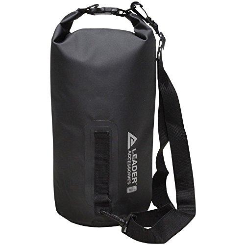 Leader International Sac Wasserdicht PVC, Tasche trocken Tasche Dry Bag für Wasserski Kajak Angeln Rafting Kanusport und Camping, schwarz