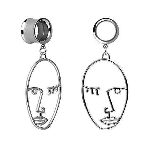 COOEAR Ohr Plug Tunnel Gauge Piercing Gesicht Design Anhänger Edelstahl Schraube 00G