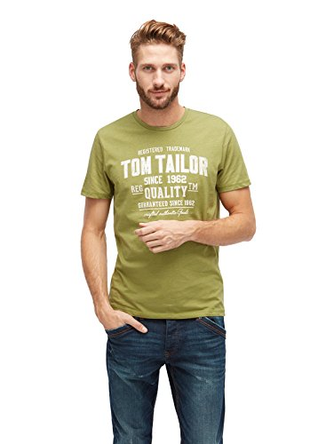 TOM TAILOR Herren T-Shirt with Chest Print amaranthus green