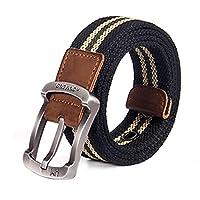 Canvas Belt, Men's Casual Belt, Safety Metal Buckle Stretch Weave, Sturdy and Wear-resistant, 105/115/125 * 3.8cm (J,125cm)