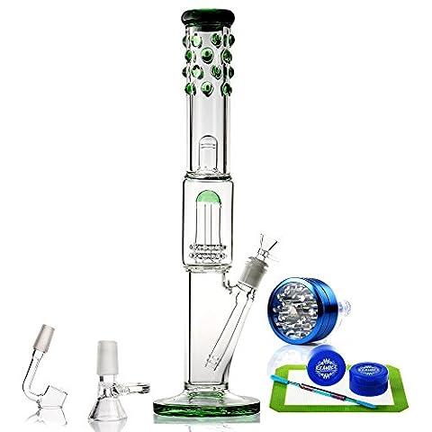 REANICE (FOREST C) Recycleur le verre pong grand verre bong 14.5mm bong bowl Hauteur 46cm droit des tuyaux en verre honeycomb direction générale de l'eau en tuyau de forage des accessoires de verre avec les verts