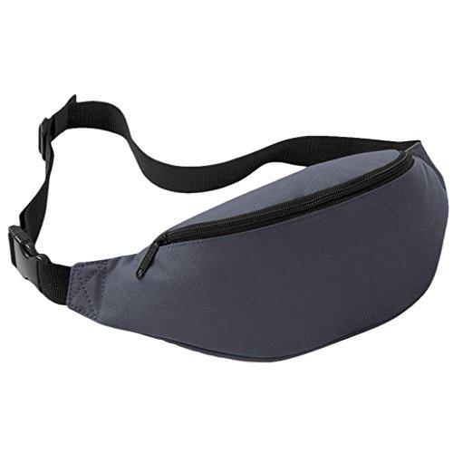 UIlarma Unisex Gürteltasche Sport Outdoor Hüfttasche Oxford Tasche Einstellbare Band (Lila) Grau