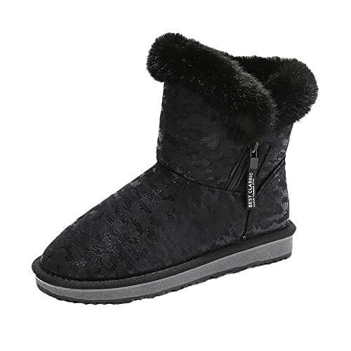 cinnamou Damen Schneestiefel, Baumwollschuhe, Winter warm halten Schuhe, Casual Leopard Print Runde Zehe Brot Schuhe