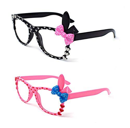 Ultra ® 2 Paare von niedlichen 3D Multi Color Klarglas Bunny Heart Bow Frames perfekt für Kostüme Parteien Gläser Geschenk