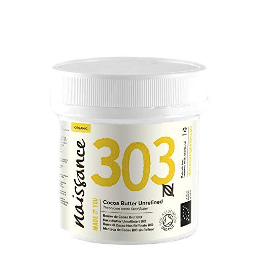 Naissance Manteca de Cacao BIO n. º 303 - 100g - Pura, natural, certificada ecológicamente, vegana, no OGM - Ideal para recetas cosméticas DIY.