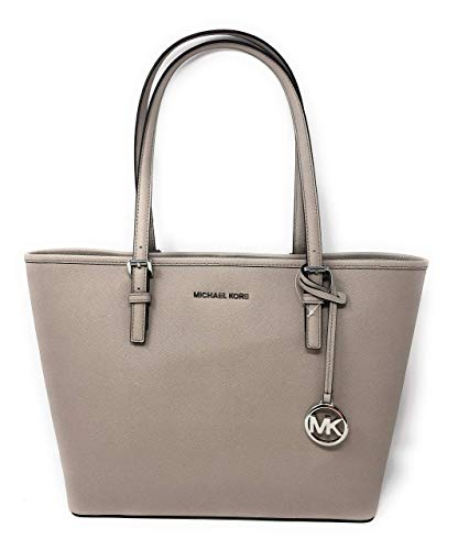 Michael Kors Jet Set Travel Medium Carryall Saffiano Leather Tote Bag in Cement (Michael Michael Tote Jet Kors Set Medium)
