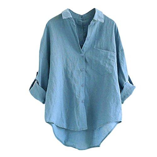 Longra Damen Bluse Damen Hemd Jeansbluse Hemdbluse Denim Jeanshemd Jean Denim Langarm Shirt Tops Bluse Jacke Damen Denim Knopf-Bluse Langarm Hemd Casual Shirts Tops Langarmshirt (M, Blue)