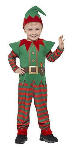 Smiffys 21489T2 - Kinder Unisex Elfen Kostüm, Alter 3-4 Jahre, One Size, - Rot Und Grün Elfe Kostüm