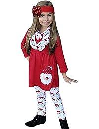 SUCES Weihnachten Baby Kleid + Hose + Stirnbänder Set Mädchen Stilvolle Outfits Kinder Schön Gedruckt Top Festlich Langarm Partykleid