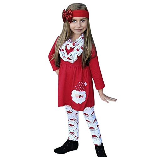 Mädchen Weihnachten Kleid Kleinkind Baby Mädchen Cartoon Santa Print Kleid + Hosen + Stirnbänder...