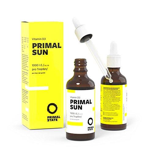 Vitamin D Tropfen PRIMAL SUN | In Kokosöl gelöst | Unabhängig zertifiziertes Vitamin D3 | Hohe Bioverfügbarkeit | Hochdosierte 1000 I.E. je Tropfen | 1150 Tropfen Vitamin D, Bio-baby