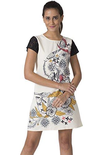 Chumbak Tropical Bloom Printed Ivory Shift Dress- S