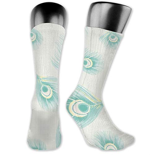 Bird Feathers Pastel Watercolor Linen Mint Yellow Casual Athletic Full Crew Socks Running Gym Compression Foot