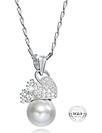 Young & Forever Mothers Day Gifts Timeless Treasure 925 Sterling Silver Fresh Water Pearl Pendant Necklace For...