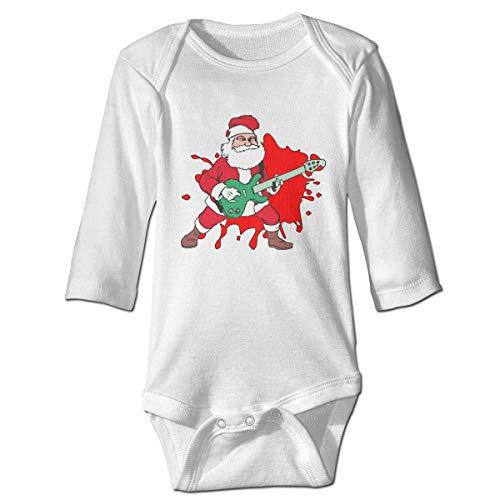 WBinHua Bodysuits Baby Body, Rock and Roll Santa Baby Unisex Long Sleeve Onesies Bodysuits Rock Roll Baby Onesies