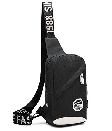 Outdoor peak Nylon Herren Tasche Brusttasche Sport Rucksack schwarz (blau) schwarz