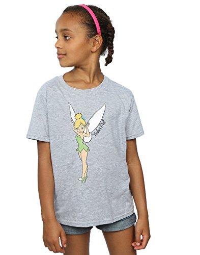 Disney Mädchen Peter Pan Classic Tinkerbell T-Shirt 7-8 Years Sport Grey (T-shirt Tinkerbell Tee)