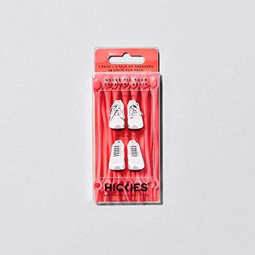Hickies 1.0 lacci elastici, misura unica, non si allacciano - rosso (contiene 14 lacci, adatti ad ogni scarpa)