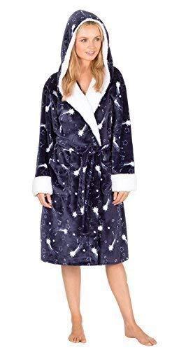 Donne pile supermorbido cappuccio con stella vestaglia abbigliamento da notte - sintetico, navy, 100% poliestere, donna, medium