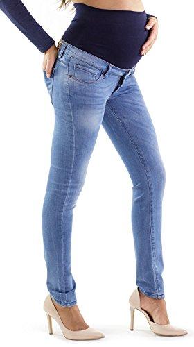 Jeans premaman cinque tasche, vestibilità slim, elasticizzato lavaggio con micro rotture ed effetto sabbiato made in italy mamajeans (40 it, chiaro)