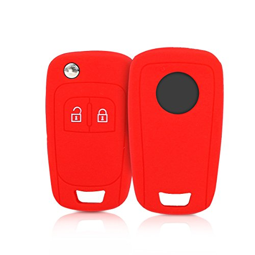 kwmobile Autoschlüssel Hülle für Opel - Silikon Schutzhülle Schlüsselhülle Cover für Opel Chevrolet 2-Tasten Klapp Autoschlüssel Rot