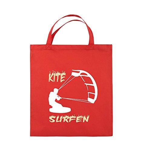 Borse Comiche - Kite Surfing - Motiv 3 - Borsa In Juta - Manico Corto - 38x42cm - Colore: Nero / Bianco-neon Verde Rosso / Bianco-beige