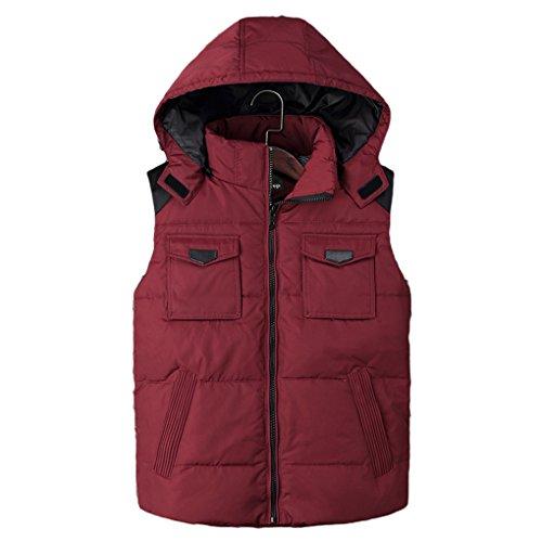 Zhuhaitf Mode Pour des hommes Winter Removable Hood Sleeveless Down Zipper Jacket Vest red