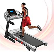 PowerMax Fitness Unisex Adult TAM-225 Ac Motorized Treadmill With Mp3 & Ipad Holder - Black/Grey, General-